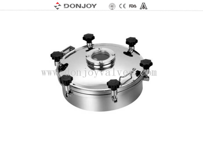400mm Weled Pressure Food Tank Manhole Cover With Flange Sight Glass